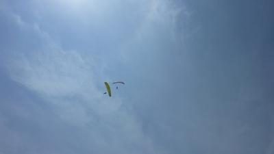 空を駆け上がるパラグライダー
